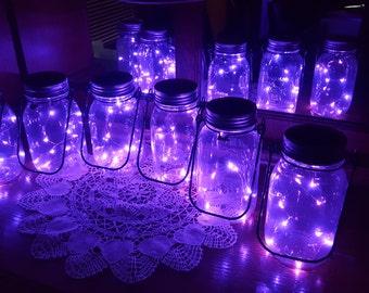 Mason Jar Solar Lid Light - Purple - Angel Lights - Firefly Lights - solar mason jar, mason jar light, fairy lights, mason jar solar lid