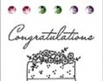 "Hero Arts Sparkle Clear ""Congratulations"" Stamp Ser/Wedding Cake"