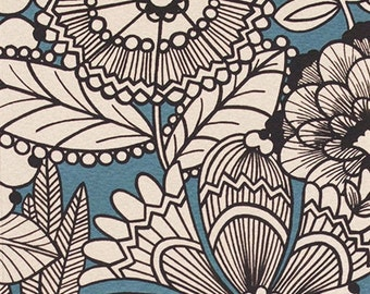 A Ghastlie GardeniaFreezing Blue of Alexander Henry Fabrics  Half Yard