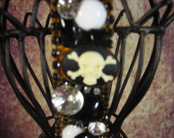 COLLAGe Brooch Pin  UPCYCLED scull cameo steam punk goth
