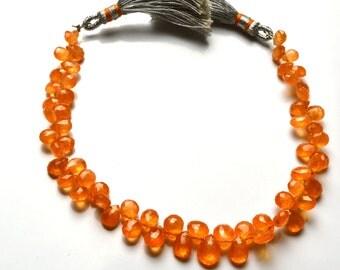 58 carets 6.5 inch Natural Gemstone Spessartine Faceted Beads  Pear Shape Briolettes Very Rare Orange Garnet 4 To 7 MM