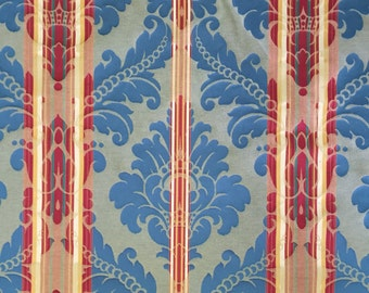 Red and Aqua Stripe Damask Upholstery Fabric