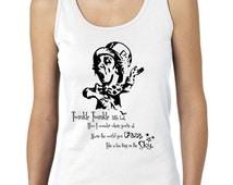 Mad Hatter Ladies TankTop,Twinkle Twinkle Little Bat, Alice in Wonderland Tank,Nerd Girl Tees, Geek Chic Shirt Gifts Typography, graphic tee