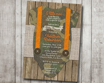 Boy Baby Shower Invitation Camo Camouflage Hunter Hunting Orange Suspenders Wood Burlap Rustic Printable Digital I Customize For You