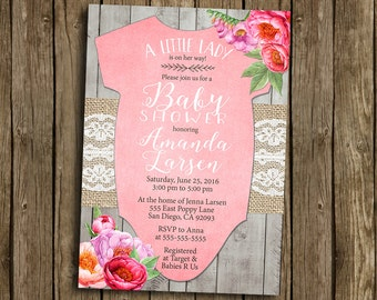 Girl Baby Shower Invitation Pink Floral Flowers Watercolor Peony Lace Burlap Wood Rustic Gray Printable Digital I Customize For You