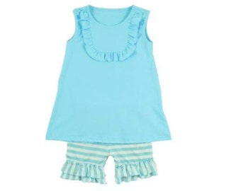 Baby blue Tank/short outfit Size 7(6-7year)