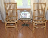 Vintage Bamboo and Rattan Chairs - Pair of Mid Century Modern Bamboo Chairs - Circa 1970's Natural Bamboo Rattan Chairs