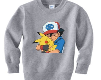 Pokemon Ash and Pikachu Custom Sweatshirt , t-shirt  (Colors)