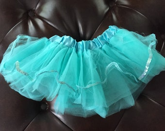 Aqua with sequin beautiful tulle baby tutu- perfect for dance or dress up.
