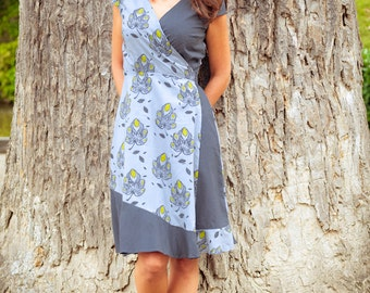 SALE -50%! Grey Mango - a light cotton wrap around dress made out of block printed cotton - fair trade produced
