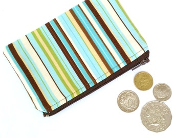 Stripe Coin Pouch, Striped Change Purse, Small Pouch, Ear Buds Pouch, Blue Brown Small Purse, Gift for her, Coin Purse, Gift under 30