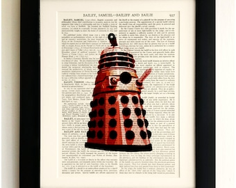 FRAMED ART PRINT on old antique book page - Red Dalek, Doctor Who, Vintage Upcycled Wall Art Print Encyclopaedia Dictionary Page
