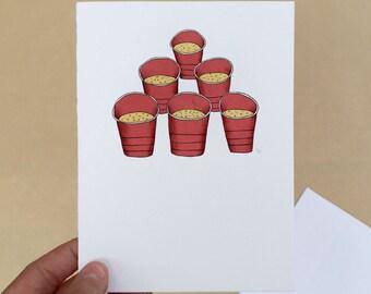"21st Birthday Beer Pong; 4"" x 6"" Birthday Card, Twenty-First, 21, Beer, Games, Drinking, Legal, Drunk, First Drink"