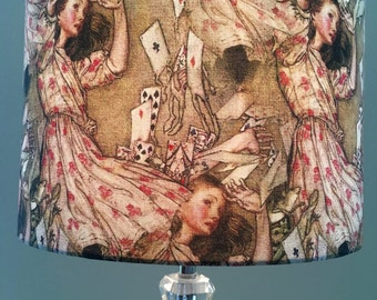 Alice in wonderland lampshade, Alice gets decked lamp shade,