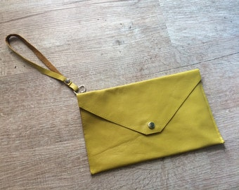 Yellow mustard Real Leather Envelope Evening Clutch Bag wedding handbag genuine leather clutch