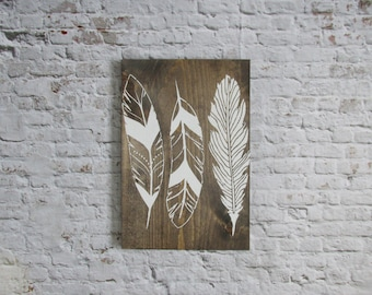 Rustic Feather Sign. Wood signs. Wooden signs. Rustic decor. Boho decor. Feather art. Farmhouse decor. Rustic signs. Home Decor. Wall Decor.