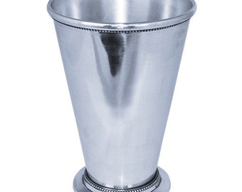 Mint Julep Cup Silver Plated, Silver Beaded with Height 8.75 inches - MAJC060509