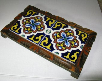 Vintage Carved Wood & Tile Mexican Double Trivet, Beautiful Catalina Style Tiles, Brightly colored Dal-Tile, Mexican Folk art!