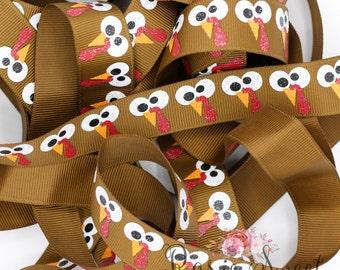 "7/8"" Gobble Turkey Glitter Grosgrain Ribbon - 1yd"
