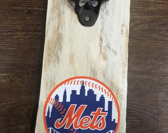 New York Mets Vintage Style Wall Mounted Bottle Opener