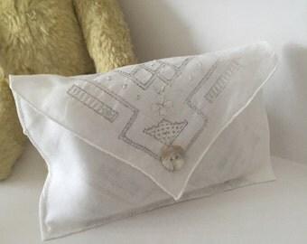 vintage, shabby chic handkerchief lavender sachet with inner pocket
