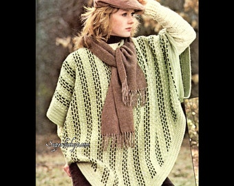 Reprint vintage Woven Poncho crochet pattern in PDF instant download version