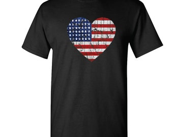 American Flag Heart USA Flag Men's T-shirt 4th Of July Shirts