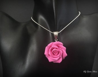Pink rose necklace, Polymer Clay necklace, Pink rose jewelry, Rose with polymer clay, Pink Flower Necklace, Rose Necklace, Flowers necklace
