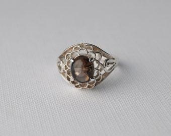 Vintage Smoky Quartz Ring - Vintage Sterling Silver Smoky Quartz Ring - Chunky Ring Chunky Silver Ring - Size M 1/2 6 1/2