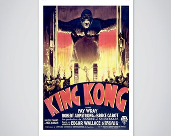 King Kong Vintage Movie Poster, Fay Wray, 1933 Horror Film Classic Print 18x24 inch