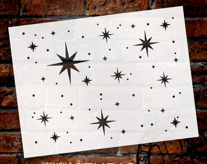 Featured listing image: Twinkle Stars Stencil by StudioR12 - Art for kids - Nursery decor, Celestial Backgrounds, Cards, Ceiling, Cake - SELECT SIZE - STCL578