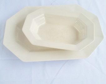 White Ironstone Platters, Set of Creamy White Ironstone Platters, Japan Ironstone