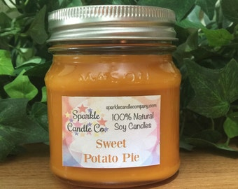 Soy Candle SWEET POTATO PIE 8 oz Mason Jar Highly Scented