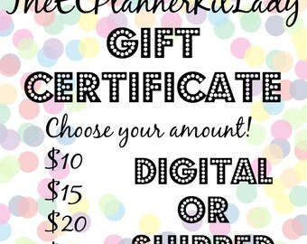 TheECPlannerKitLady Gift Certificate! Choose either 10.00/15.00/20.00/ or 25.00!