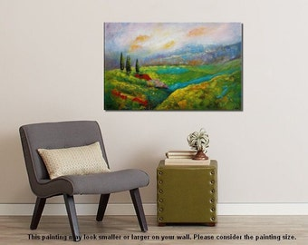 Landscape Painting, Flower Field Painting, Large Canvas Art, Canvas Painting, Abstract Art, Original Painting, Large Art, Large Wall Art