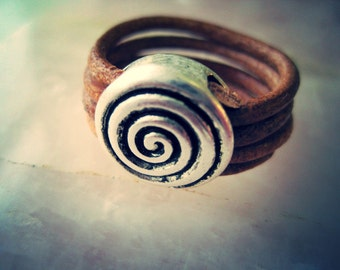 Heliocentric Spiral Leather Wrapped Ring