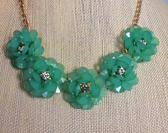 Blue flower statement necklace