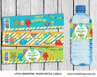 Little Monsters Water Bottle Label, Monsters party supplies,Little Monster Birthday, Monsters Label, Little Monsters Decor Instant Download