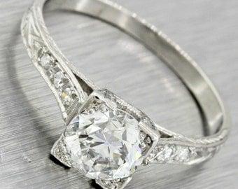 1920s Antique Art Deco Platinum 1.01 ct F-G VS1 Diamond Engagement Ring
