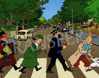 DIGITAL COLLAGE / transfer Beatles Abbey Road Tintin.. .to print