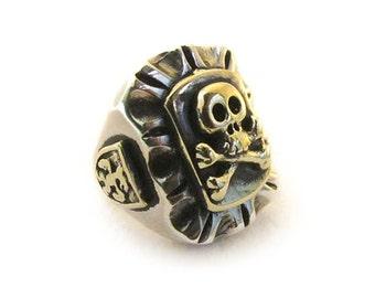 2-Tone Mexican novelty art deco biker Skull and Crossbones ring