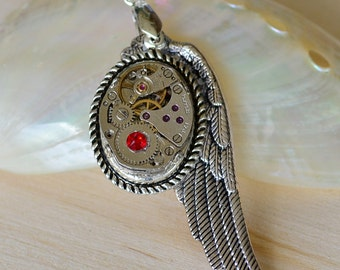 Steampunk Vintage Watch Face Pendant W/ Angel Wing