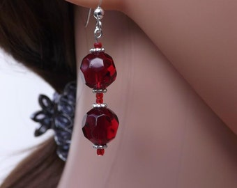 Red earrings, red glass earrings, red and silver drop earrings, Valentine's Day red earrings