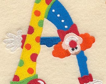 FUN CLOWN MONOGRAM Choose Your Letter Large Frameable Initial Machine Embroidered Quilt Block, Square
