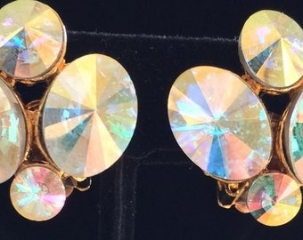 Dazzling Vintage Weiss Earrings~Aurora Borealis Rivoli Crystals~Signed