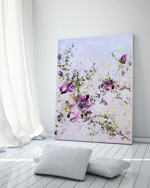 Roses flowers original oil painting palette knife hallway wall for Peindre une chambre