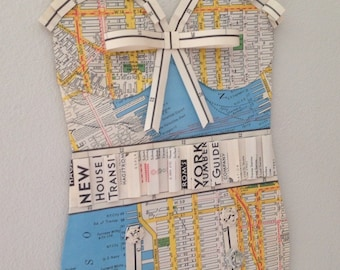 NEW YORK Vintage Bathing Suit, Bathers, Map Paper, Wall Hanging.