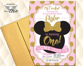 Minnie Mouse invitation, Pink and Gold Minnie Mouse Birthday Invitation, party invitation, 1st birthday invitation, 2nd birthday invitation