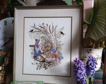 Vintage Framed Embroidered Picture Children in Orchard