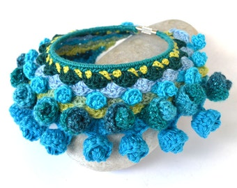 statement crochet bracelet, mexican bracelet, big bold chunky turquoise bracelet, festival ethnic bracelet, freeform crochet jewelry